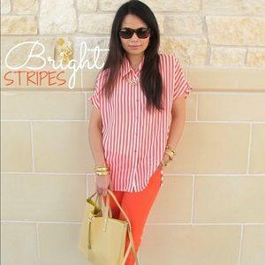 Pleione sheer striped top
